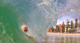 PPP bodysurfing handboards pic of Marcus driving into a Manly pit using the Velo Midi