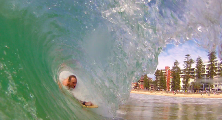Marcus shredding at Manly beach using PPP handboards bodysurfing handboards