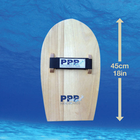 Bodysurfing handboards by PPP Handboards shows the measurements of the Velo Mid-sized handboard