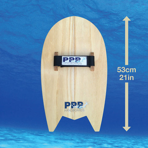 Bodysurfing handboards by PPP Handboards shows the measurements of the Velo Mid+ handboard