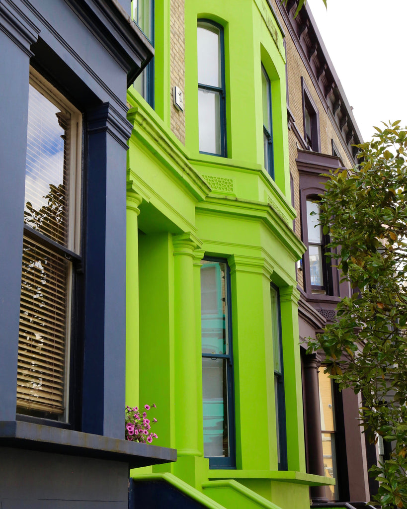 Primary Colors in Notting Hill - Lime & Blue