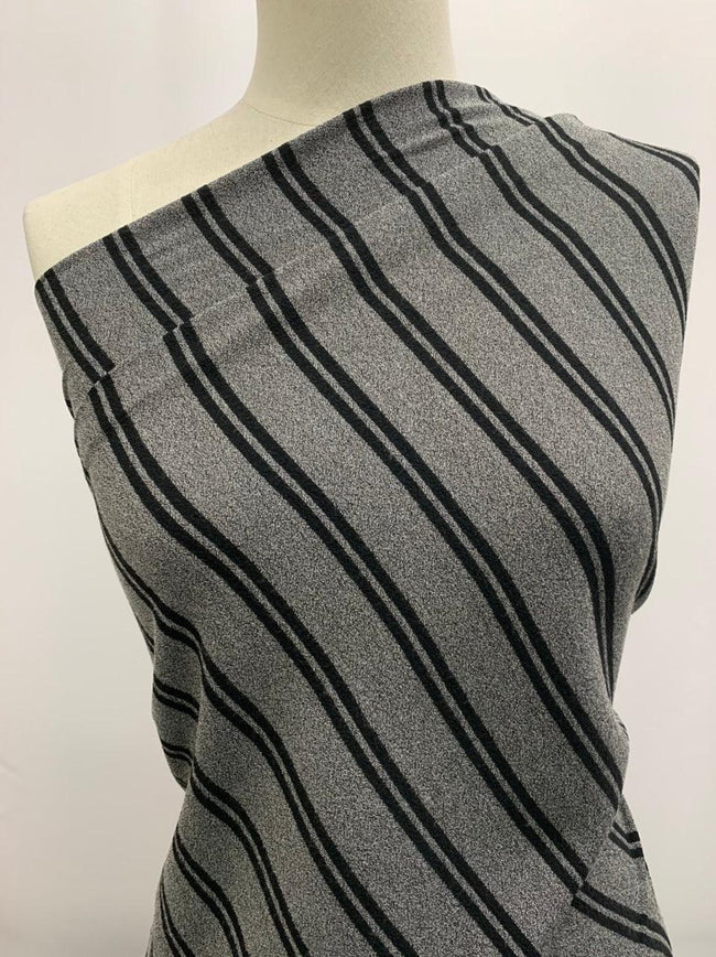 Textured Knit -Zoe Stripe Black