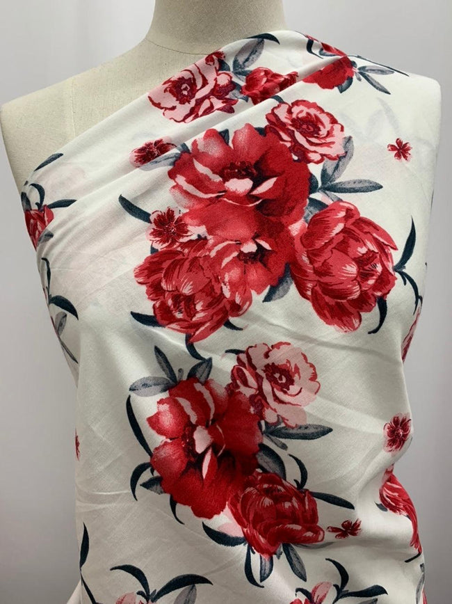 Printed Rayon - Red & White Floral