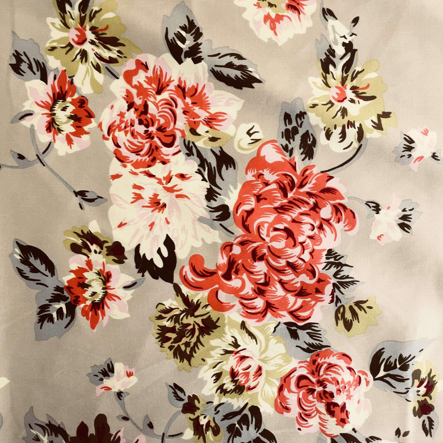 Cotton Sateen - Beige Bouquet - Super Cheap Fabrics