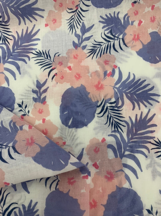 Cotton Voile - Lavender & Pink Hibiscus