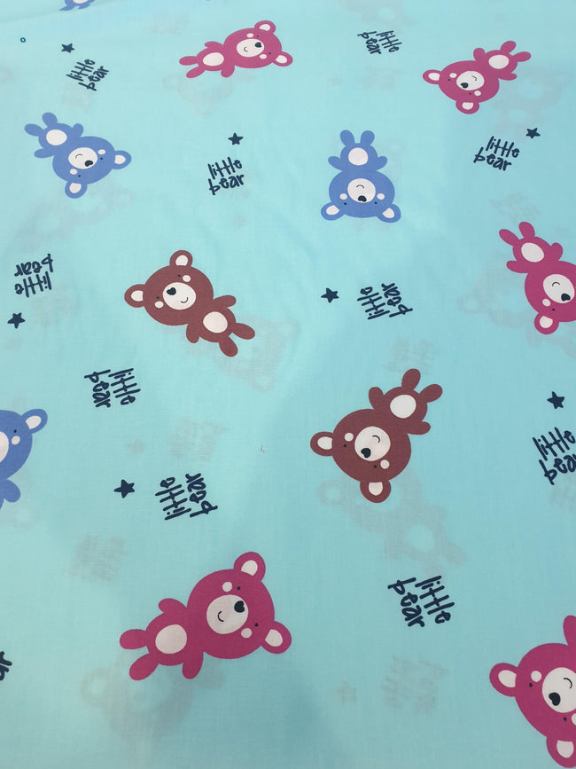 Teddy Bear Print Cotton Fabric - Pink, Blue and Brown Bears with Small Navy Stars on Light Blue Background