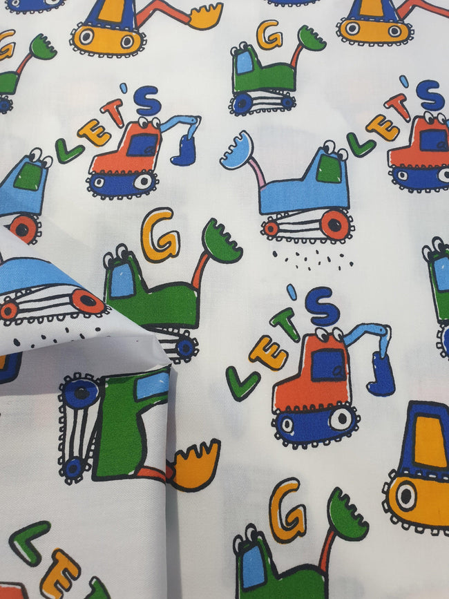 Construction Truck Fabric - White