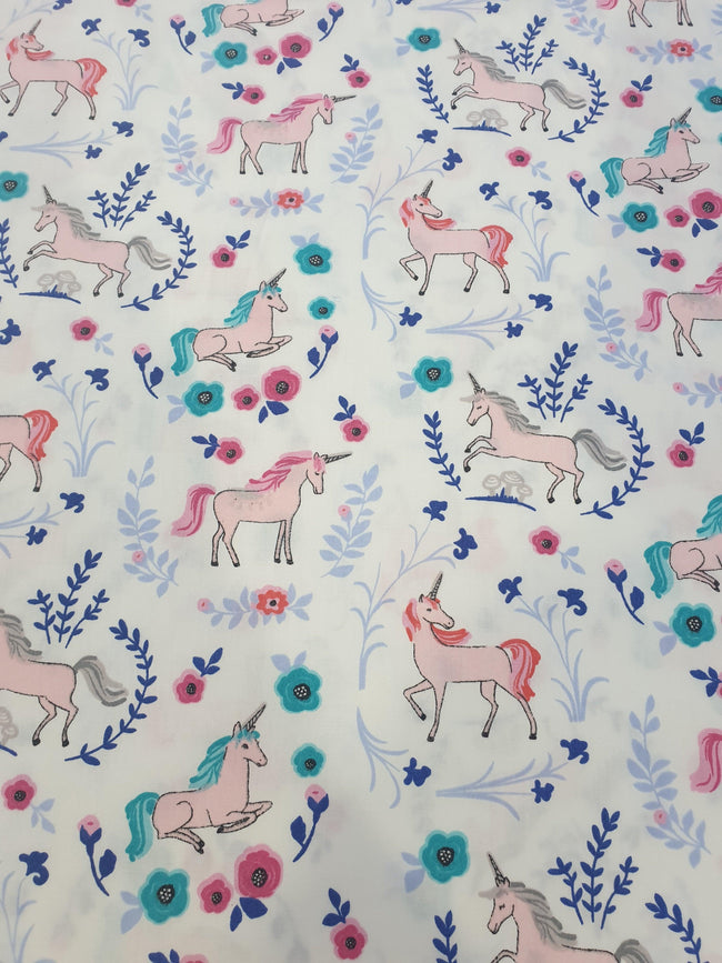 Unicorn Cotton Fabric White Background With Blue and Pink Flowers