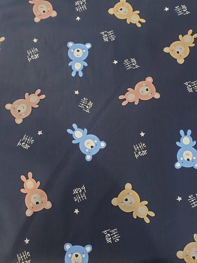 Teddy Bear Print Cotton Fabric - Blue and Brown Bears with Small Gold Stars on Navy Background