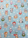 Baby Blue Cat Print Fabric with White Polka Dots