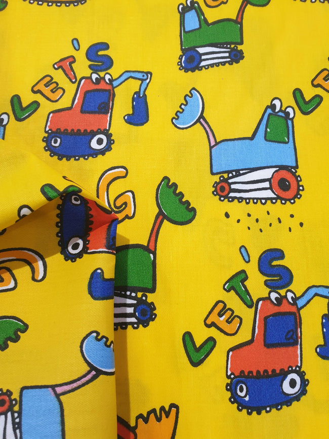 Construction Truck Fabric - Yellow