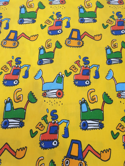 Tonka Truck Fabric with Yellow Background