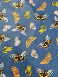 Multi-Coloured Butterfly Print Cotton Fabric - Denim
