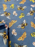 Yellow Butterfly Print Fabric on Denim - Printed Cotton