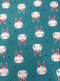 Cotton Bunny Print Fabric - Teal
