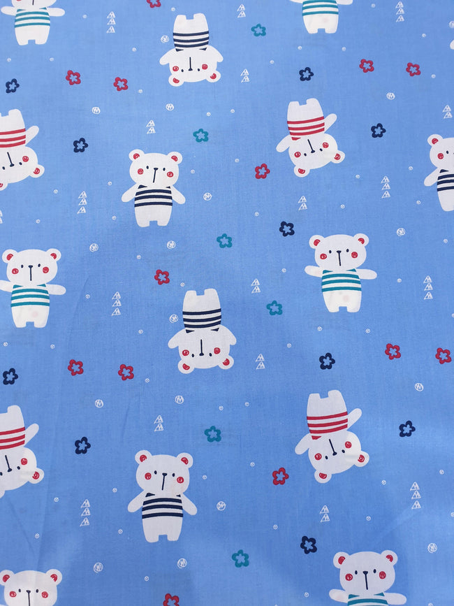 Polar Bear Print Cotton Fabric on Blue Background