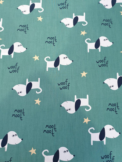 Dog Print Cotton Fabric With Green Background and Small Yellow Stars