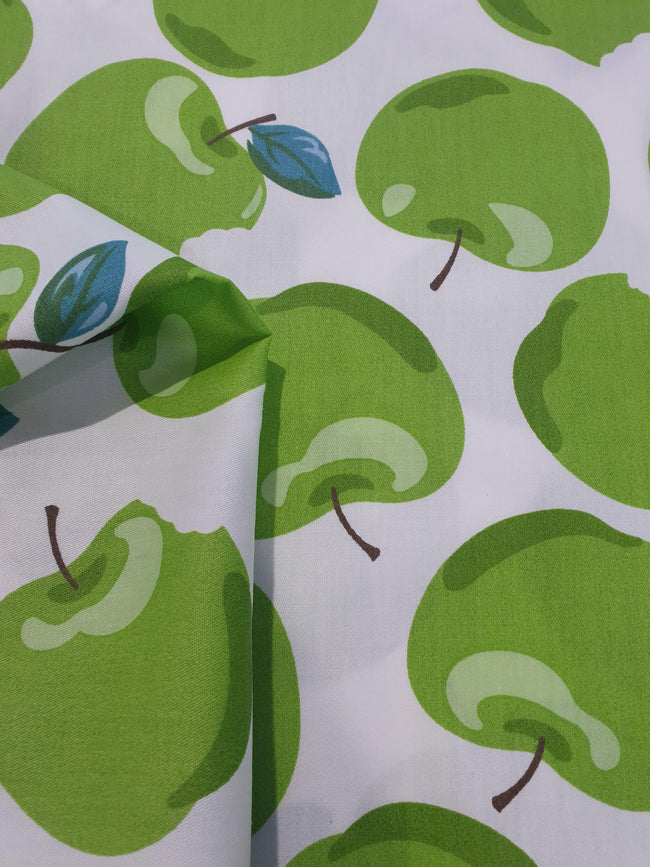 Green Apple Print Cotton Fabric