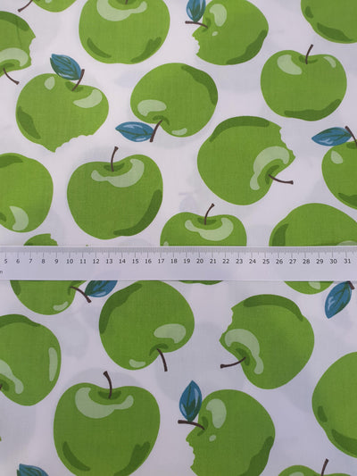 Green Apple Fabric - White Background