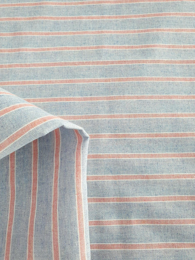 Super Cheap Fabrics - Linen Blend - Mini Beach Stripe - Blue & Red - 150cm - flatlay