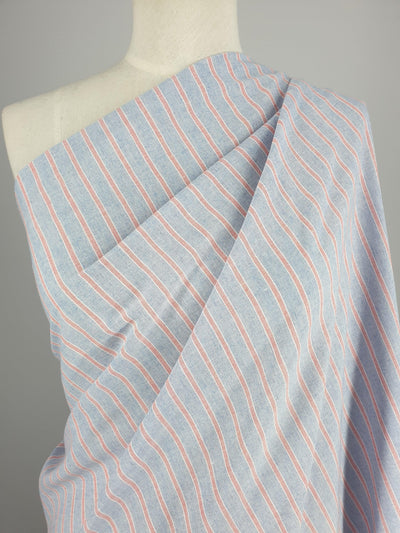 Super Cheap Fabrics - Linen Blend - Mini Beach Stripe - Blue & Red - 150cm