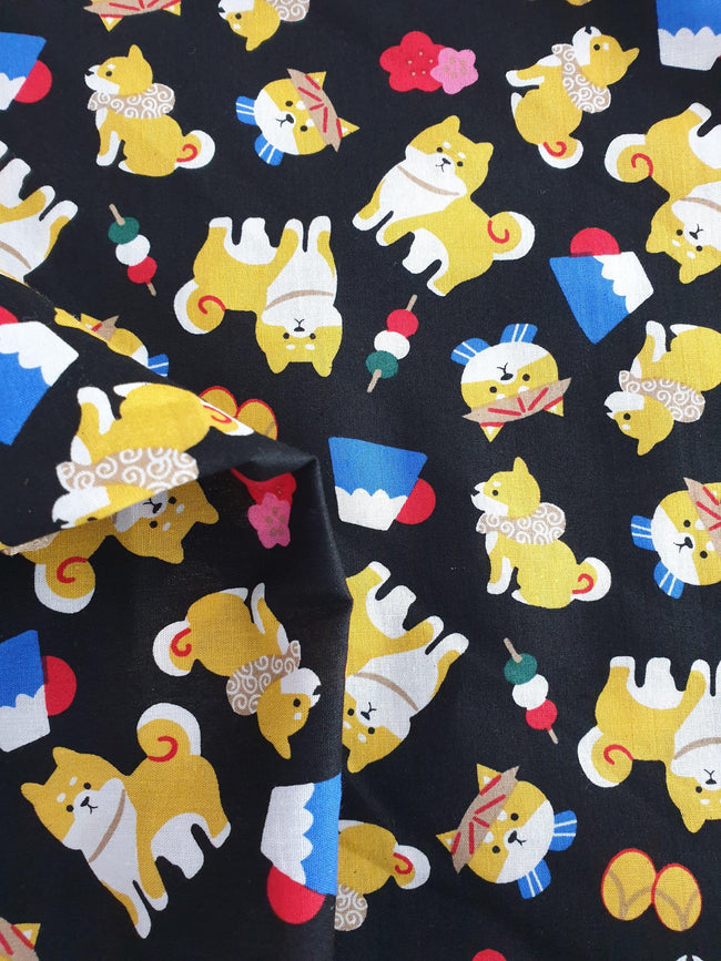 Printed Cotton - Cute Puppies - Black - 150cm