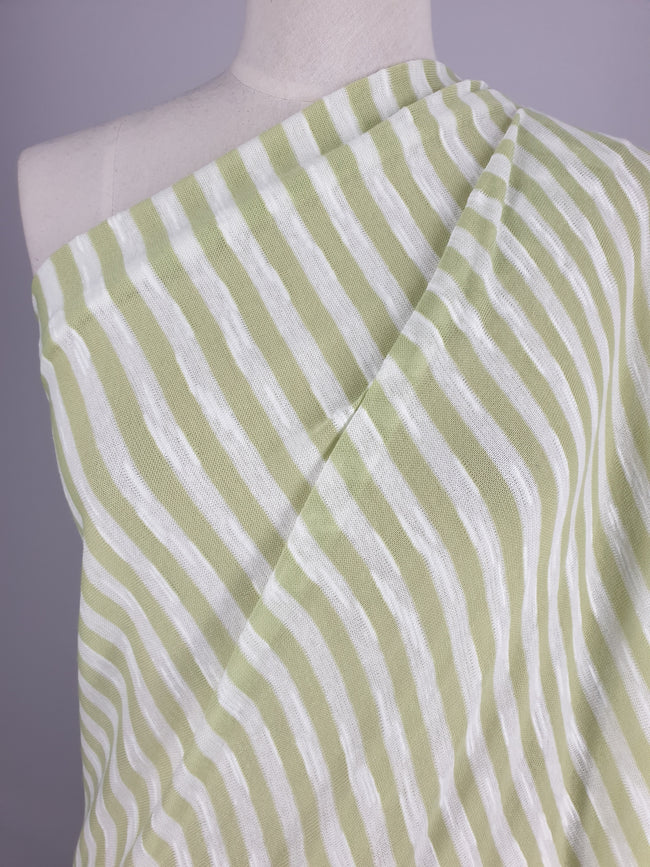 Stripe Knit - Cotton - Lime Stripe - 140cm