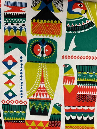Printed Cotton - Green Aztec Animals