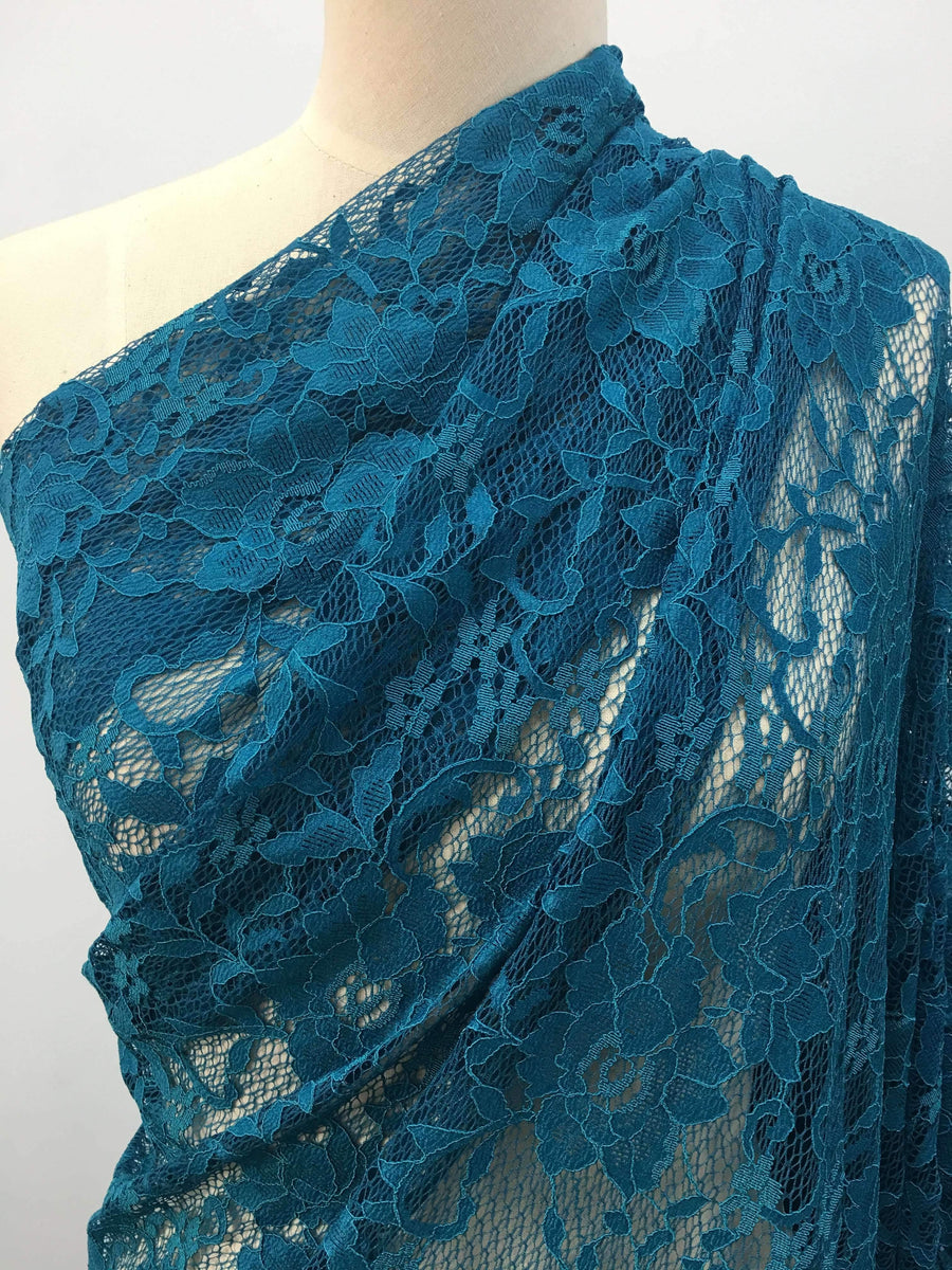 Floral Blue Lace - Super Cheap Fabrics