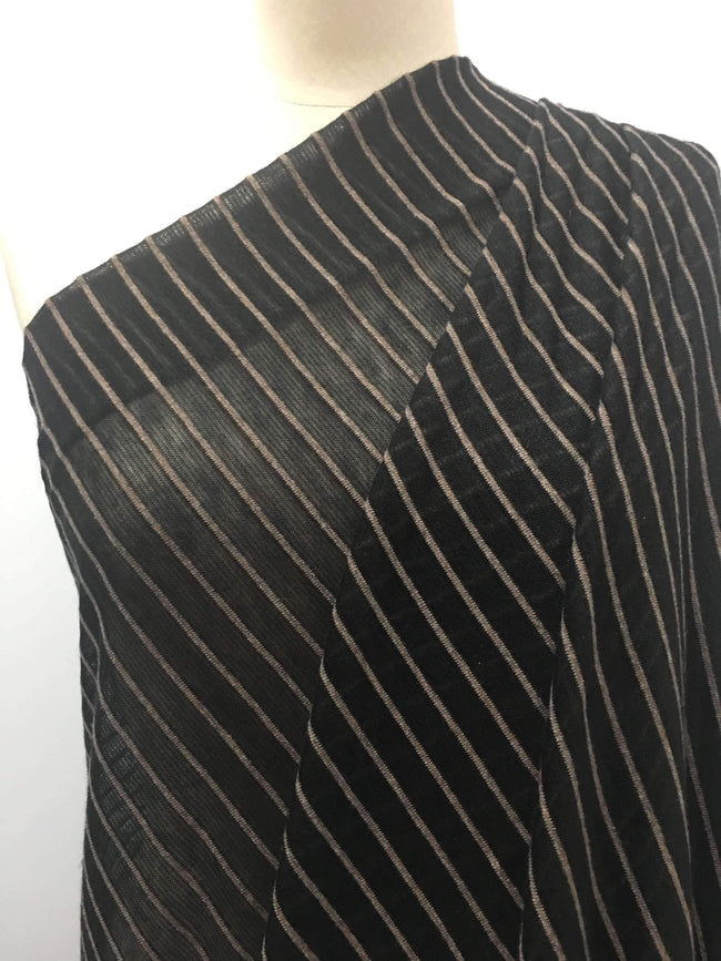 Black & Beige Marle Stripe - Super Cheap Fabrics