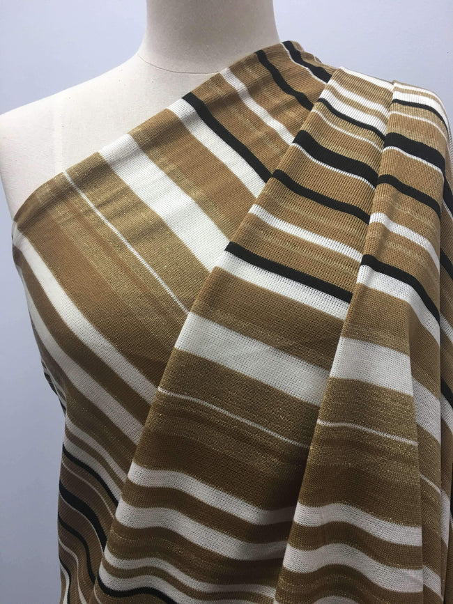 Latte Stripe With Gold Threads - Super Cheap Fabrics