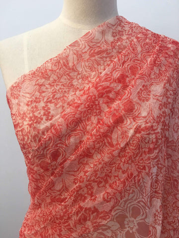 Crushed Mesh - Ruby Flowers - Super Cheap Fabrics