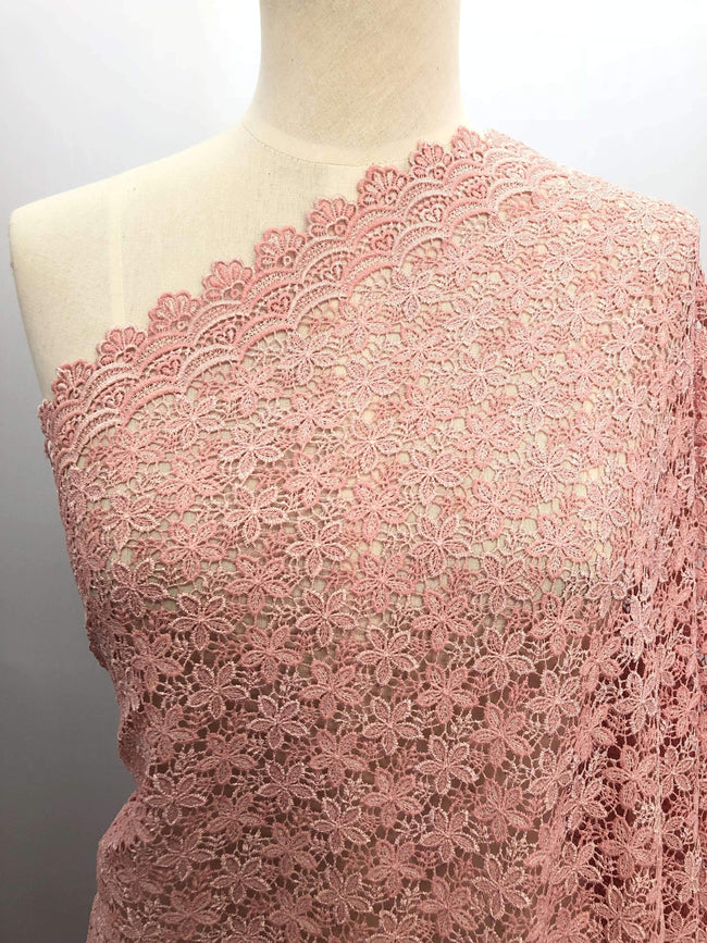 Designer Lace - Pink Flowers - Super Cheap Fabrics