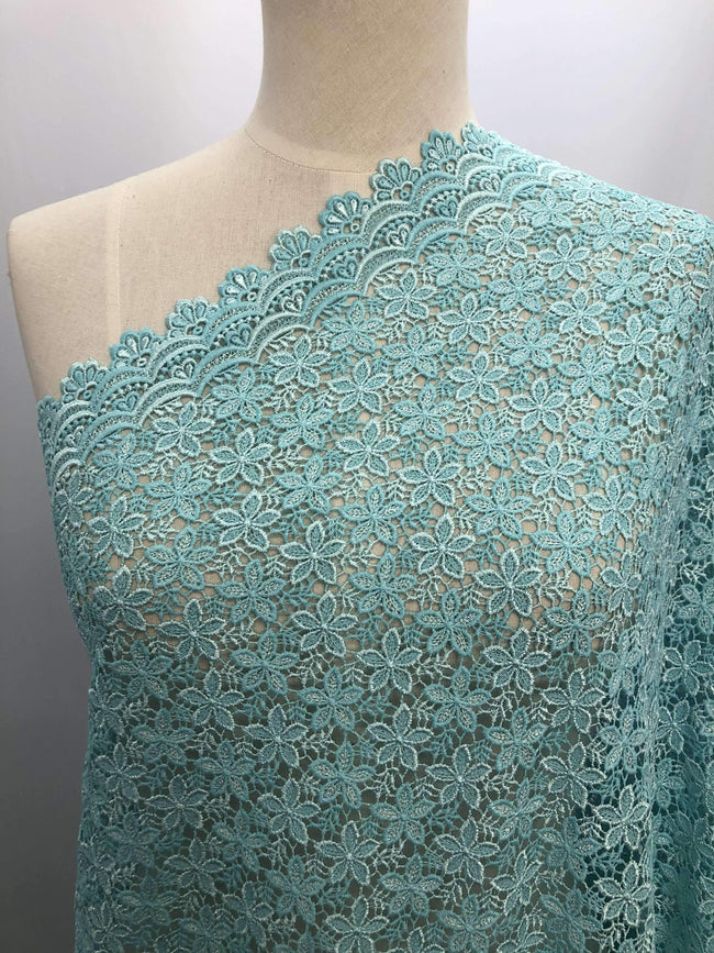 Designer Lace - Blue Flowers - Super Cheap Fabrics