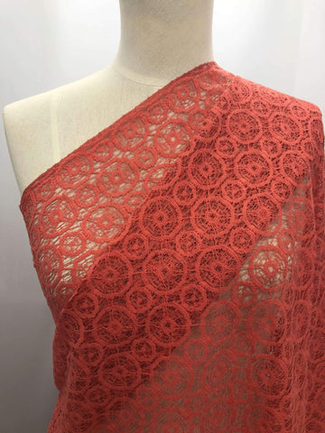 Geo Lace - Coral - Super Cheap Fabrics