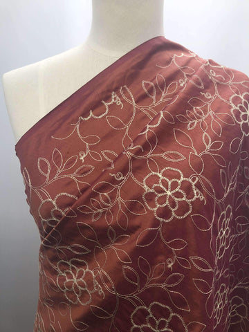 Embroidered Silk - Carmine - Super Cheap Fabrics