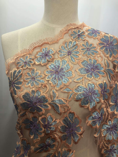 Embroidered Lace - Peach - Super Cheap Fabrics