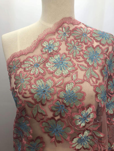 Embroidered Lace - Rose - Super Cheap Fabrics