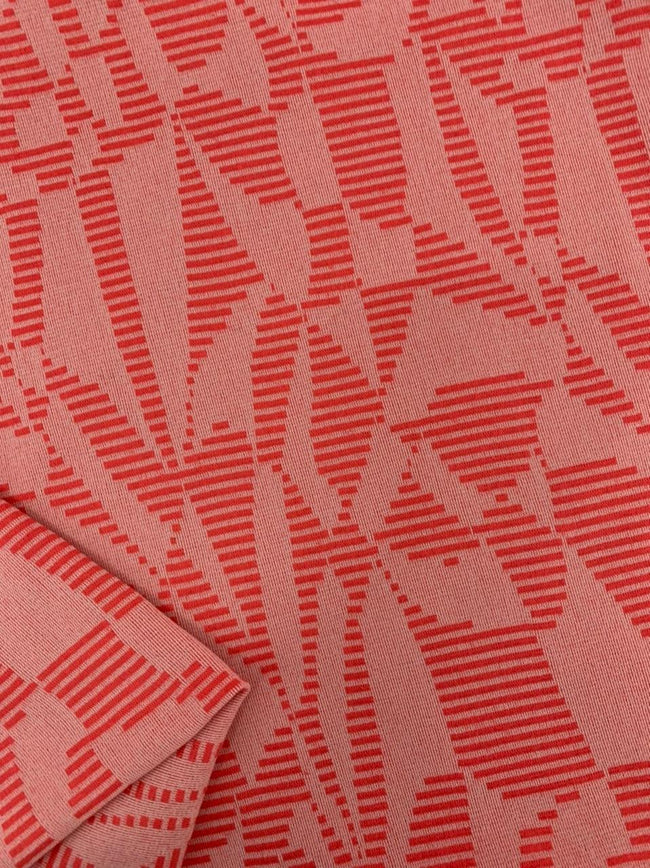 Textured Knit - Tomato Stripe Splice