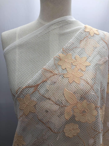 Embellished Netting - Apricot - Super Cheap Fabrics