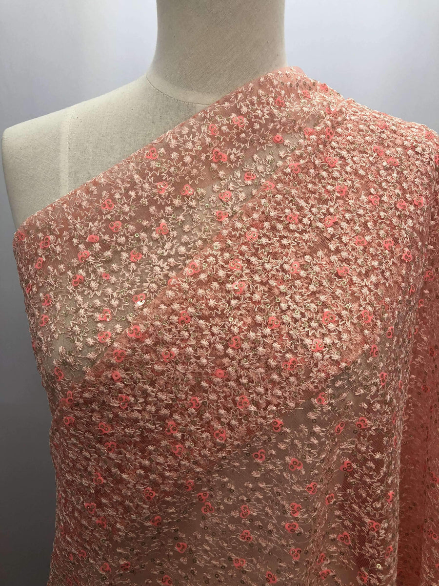Emroidered Lace - Pink Stars - Super Cheap Fabrics