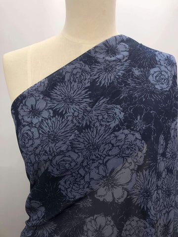 Printed Chiffon - Blue Flower