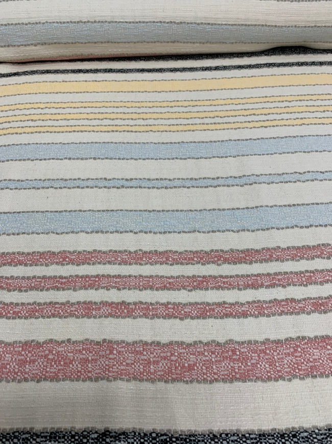 Textured Cotton Multi-Coloured Striped Fabric - Laid out Flat