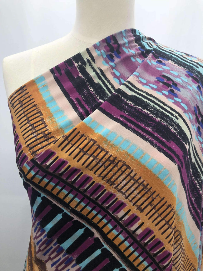 Printed Lycra - Multi Stripe