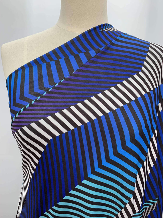 Printed Lycra - Blue Shade