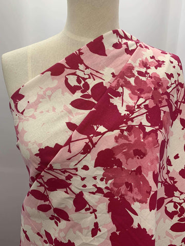 100% Linen - Pink Flower - Super Cheap Fabrics
