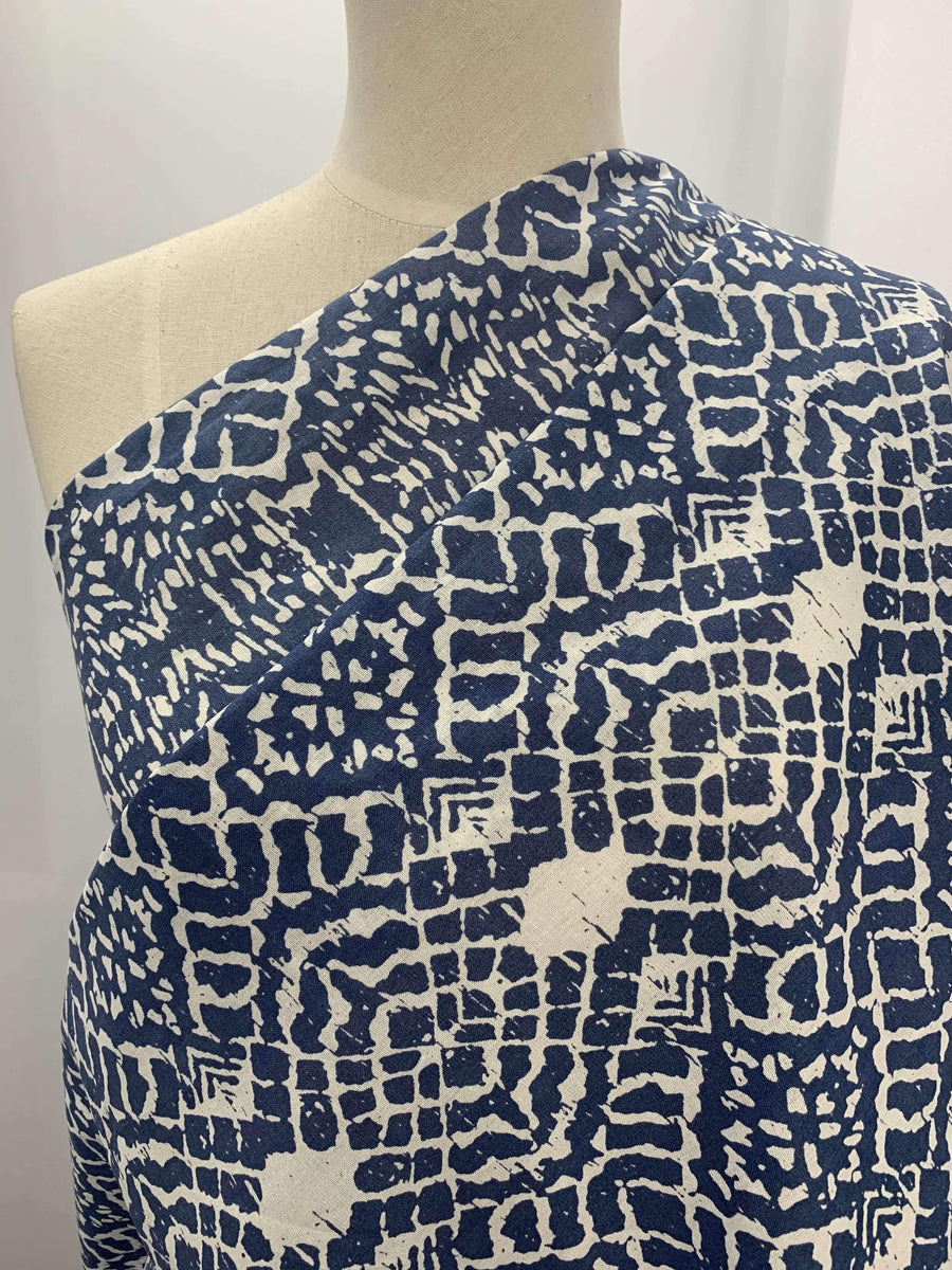 100% Linen - Blue Stamp - Super Cheap Fabrics