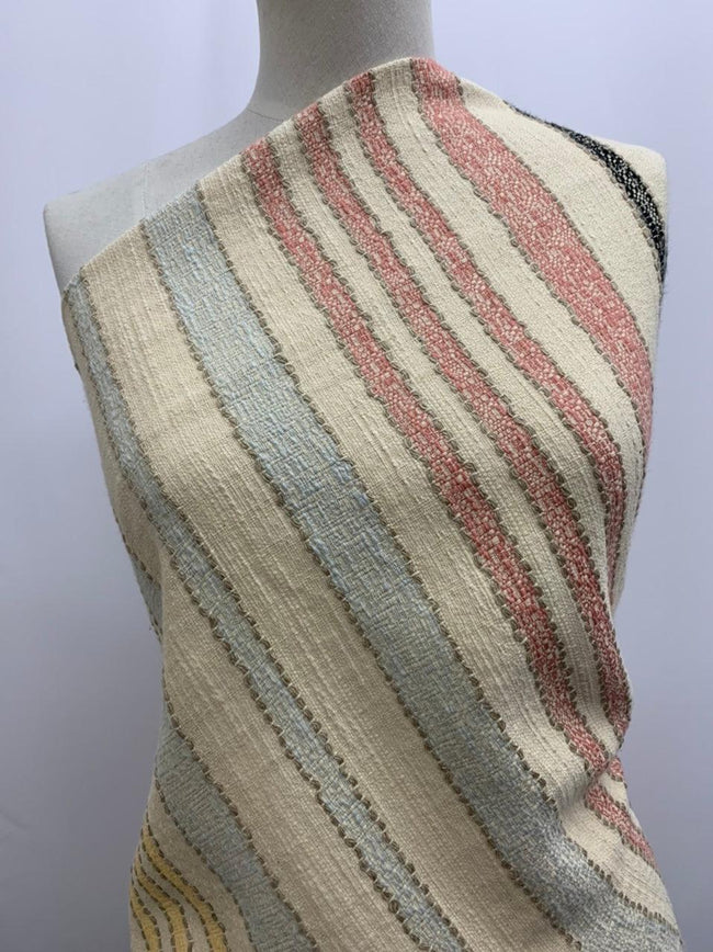 Textured Cotton Multi-Coloured Striped Fabric