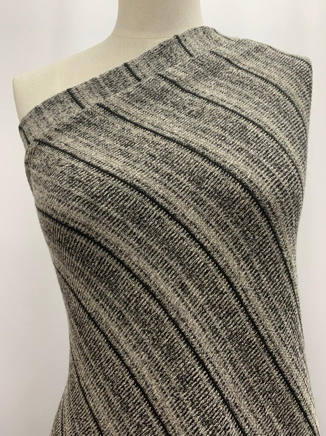 Textured Knit - Black & Charcoal Gradient Stripes