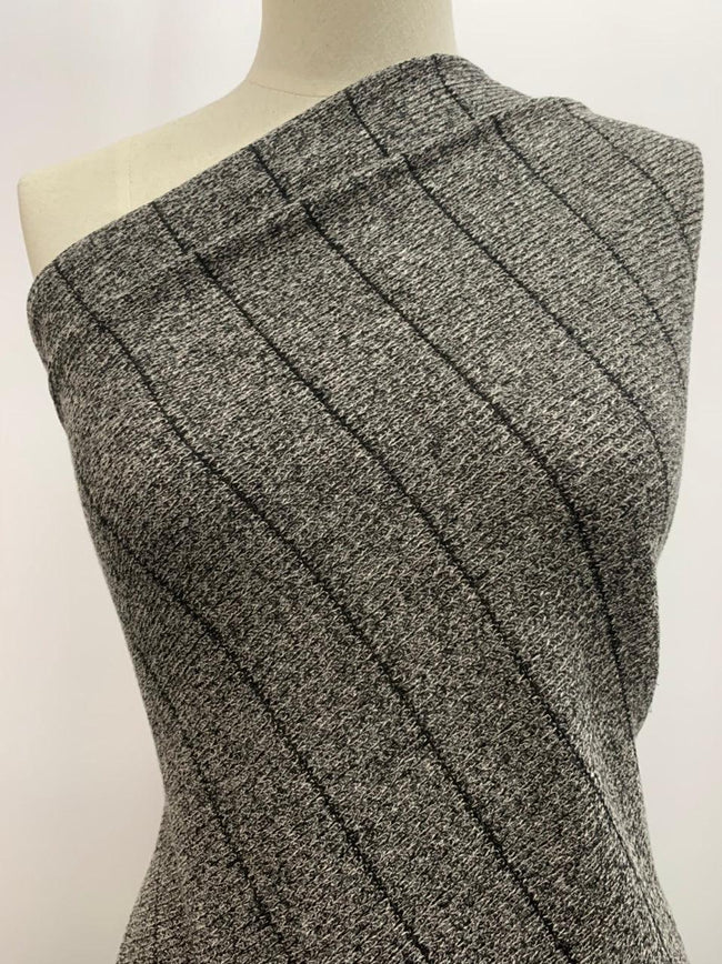 Textured Knit - Grey Marle Stripes